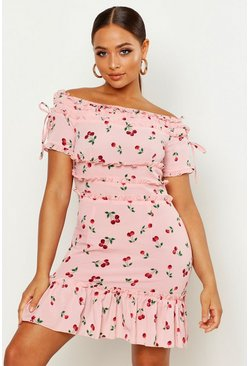 Womens Pink Cherry Print Frill Trim Skater Dress