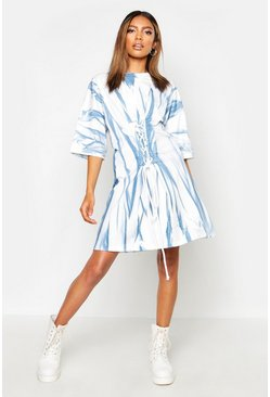 Blue Tie Dye Corset Detail Oversized T-Shirt Dress