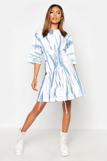 Womens Blue Tie Dye Corset Detail Oversized T-Shirt Dress