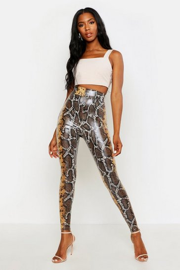 Womens Camel Leather Look Snake Print Leggings