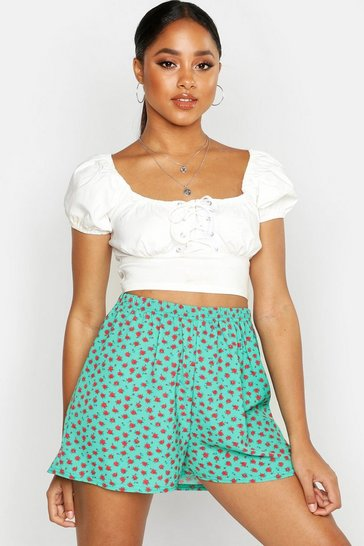 Womens Green Ditsy Floral Flippy Shorts