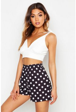 Womens Black Polka Dot Flippy Shorts