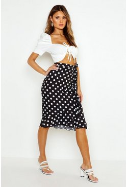 Womens Black Polka Dot Wrap Midi Skirt