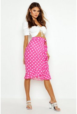 Womens Pink Polka Dot Wrap Midi Skirt