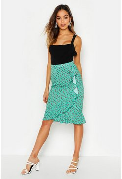 Womens Green Ditsy Floral Wrap Midi Skirt