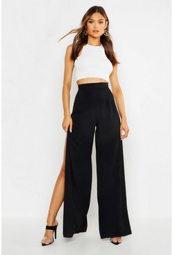 Womens Black Woven Side Split Wide Leg Trousers