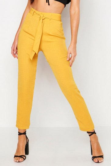 Womens Mustard Tie Waist Linen Look Slim fit Trousers