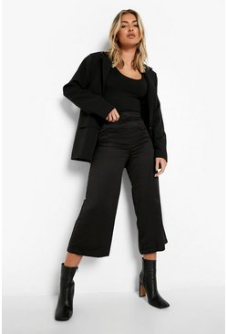 Womens Black Woven Wide Leg Culottes