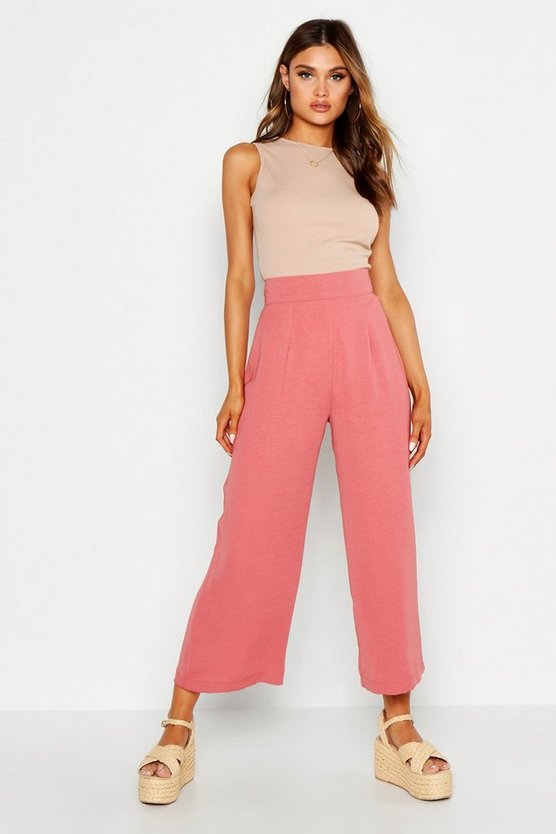 Womens Rose Woven Wide Leg Culottes