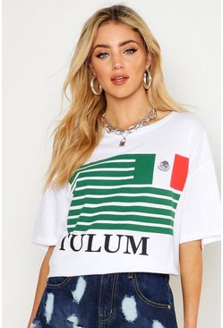 Womens White Tulum Flag Oversized T-Shirt