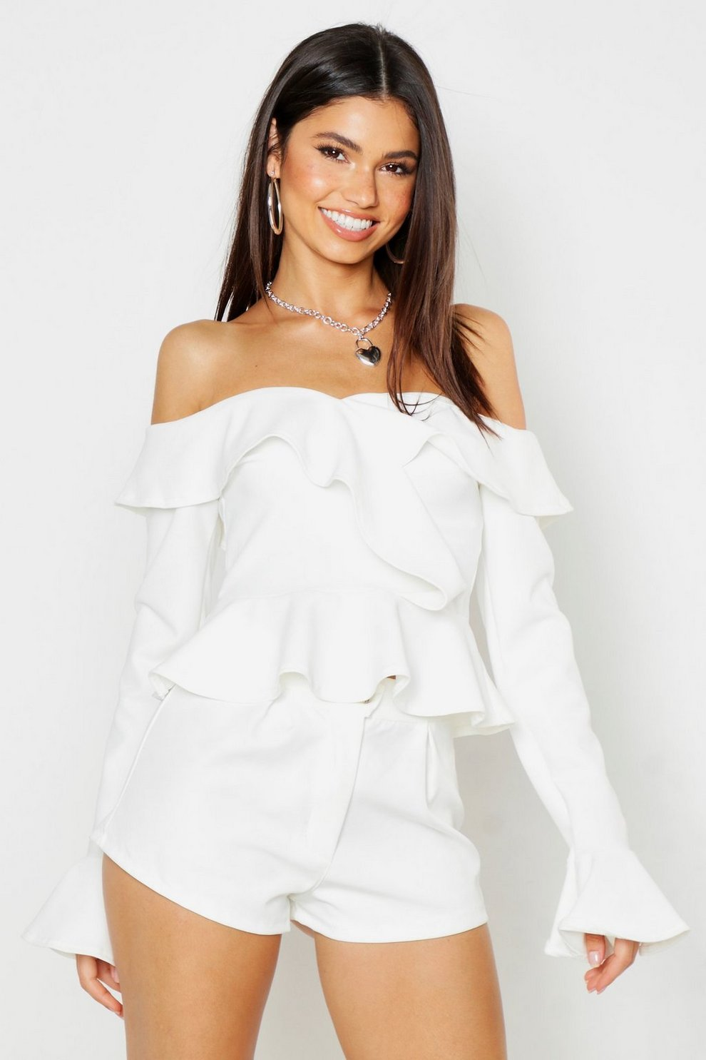 cf615182927 Womens White Crepe Ruffle Off The Shoulder Top