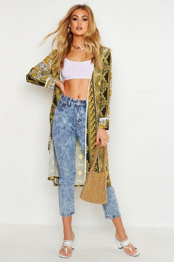 Woven Chain Print Kimono by Boohoo