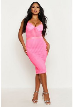 Fushia Lace Cupped Stripe Mesh Bodycon Dress