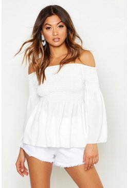Womens White Shirred Smock Top Off The Shoulder