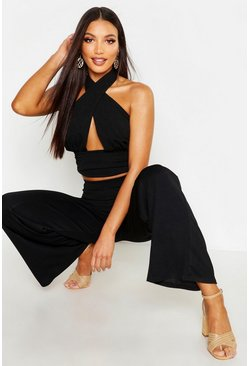 Black Halterneck Wrap Front Crop