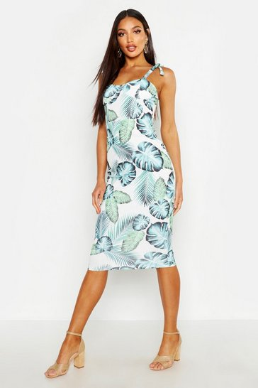 Womens Ivory Cupped Palm Print Midi Dress