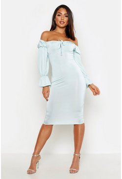 Mint Slinky Long Sleeve Bardot Bodycon Midi Dress