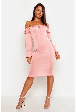 Womens Pastel coral Slinky Long Sleeve Bardot Bodycon Midi Dress