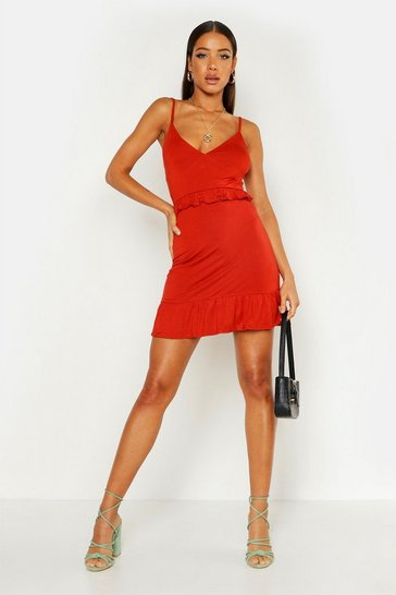 Womens Red Strappy Frill Detail Jersey Dress