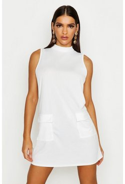 Womens Ivory Funnel Neck Double Pocket Shift Dress
