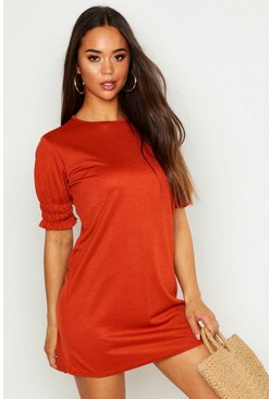 Rust Sheered Puff Sleeve Shift Dress