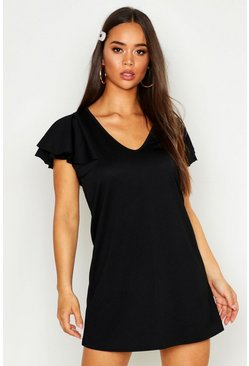 Womens Black Ruffle V Neck Shift Dress