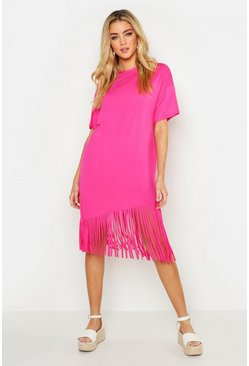 Womens Fuchsia Tassel Hem T Shirt Dress
