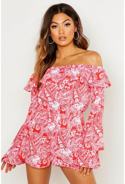 Red Ruffle Shoulder Flared Sleeve Paisley Playsuit