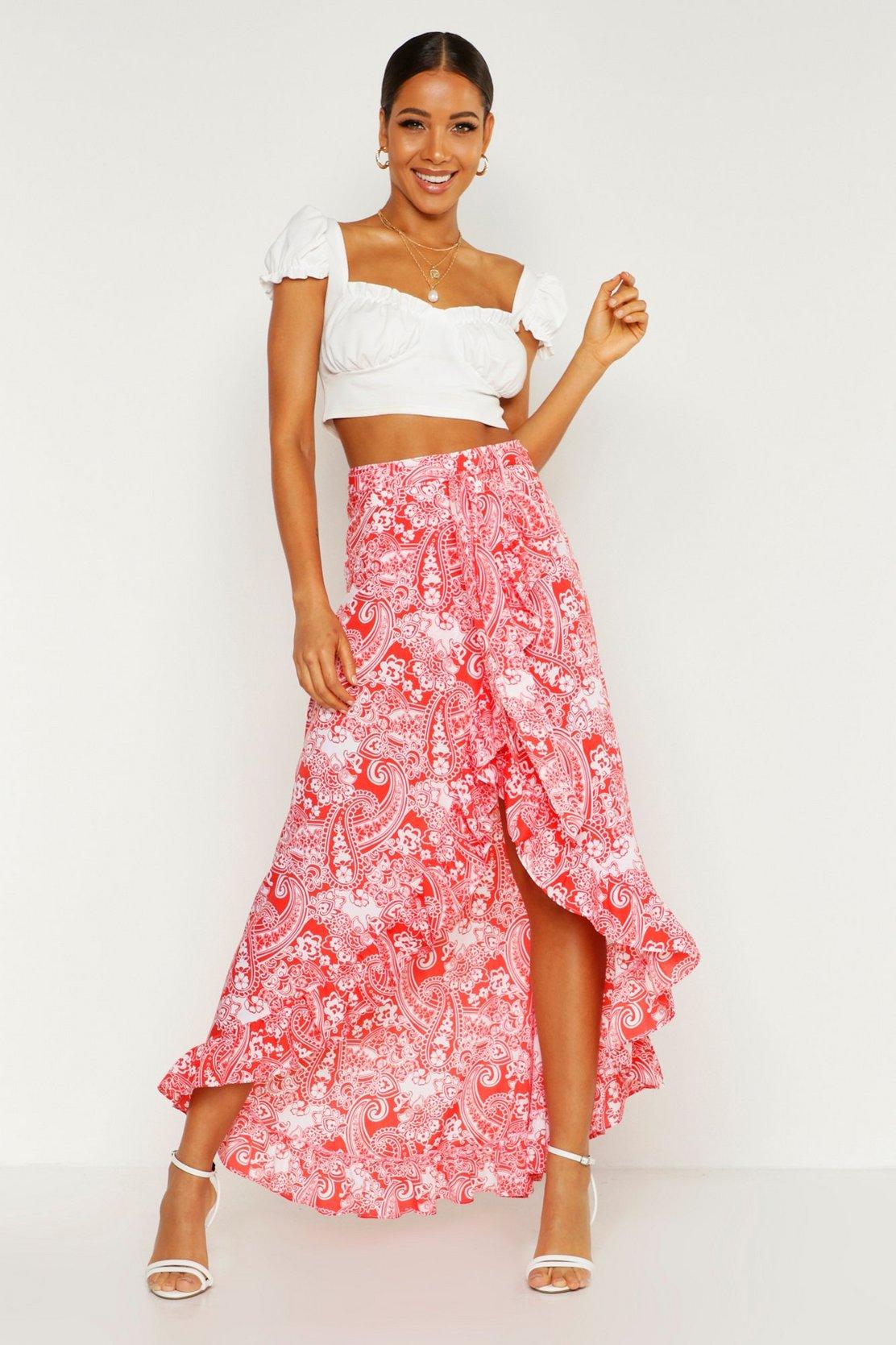 Paisley Bohemian Wrap Ruffle Maxi Skirt by Boohoo