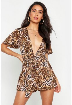 Caramel Mixed Animal Plunge Front Playsuit