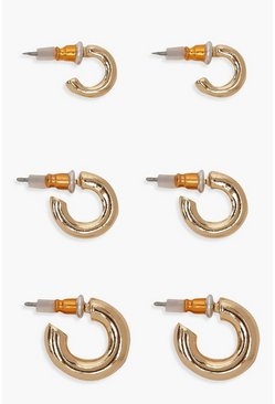 Womens Gold 3 Pack Mini Chunky Hoops