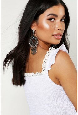 Womens Silver Boho Triangle & Crescent Chandelier Earring