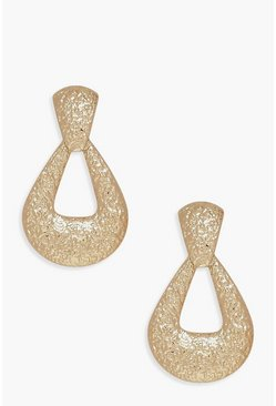 Womens Gold Textured Door Knocker Statement Earrings