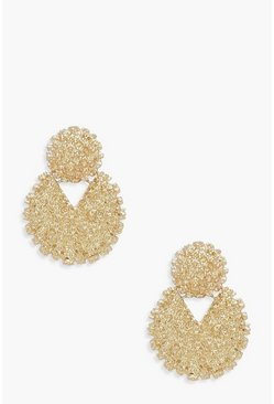 Womens Gold Textured Round Double Statement Earrings