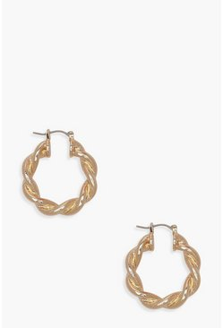 Womens Gold Chunky Twist Hoop Earrings