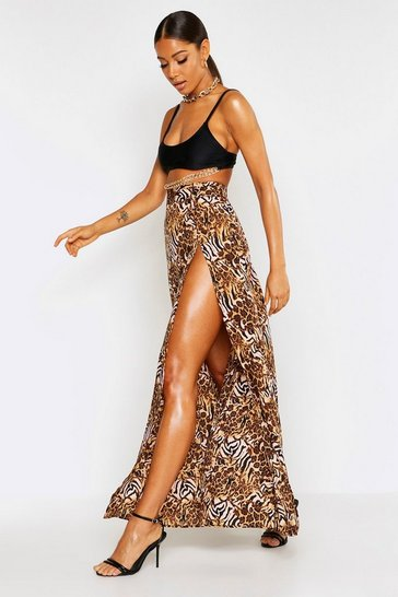 4a69c3c760af6 Mixed Animal Thigh Split Maxi Skirt