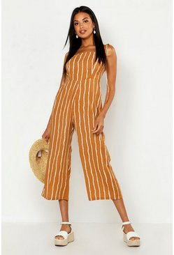 Womens Caramel Tie Shoulder Tonal Stripe Culotte Jumpsuit