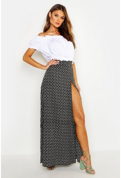Womens Black Ditsy Floral Wrap Maxi Skirt
