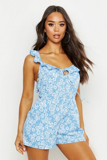 Womens Cornflower Floral Ruffle Back Playsuit