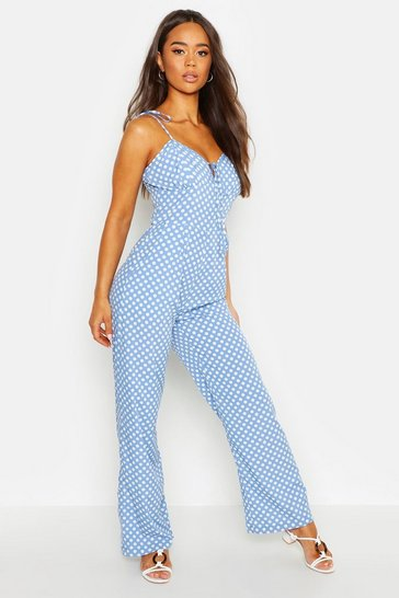 Womens Cornflower Tie Shoulder Polka Dot Cami Jumpsuit