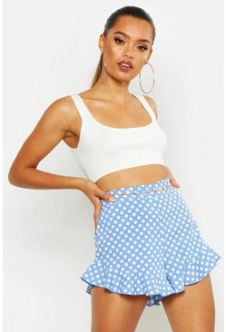Womens Cornflower Polka Dot Flippy Shorts