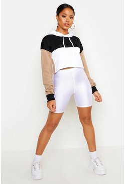 Womens Black Colour Block Cropped Hoodie
