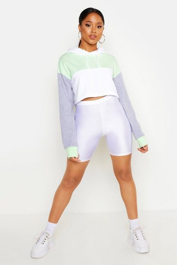 Womens Lime Colour Block Cropped Hoodie