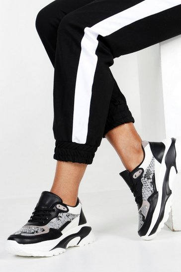Womens Black Snake Contrast Panel Chunky Sole Trainers