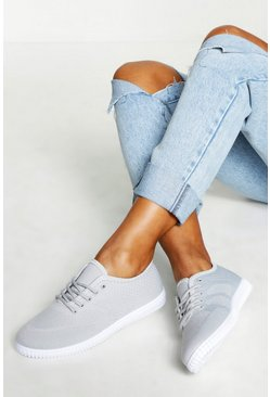 Womens Grey Basic Lace Up Pumps