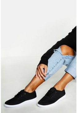 Womens Black Basic Lace Up Pumps