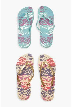 Womens Gold Animal Print Two Pack Flip Flops