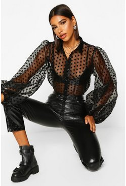 Black Organza Polka Dot Balloon Sleeve Blouse