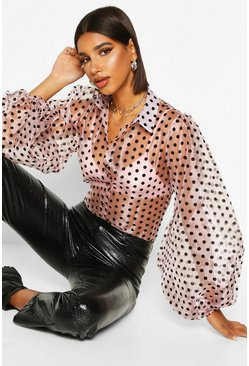 Womens Blush Organza Polka Dot Balloon Sleeve Blouse