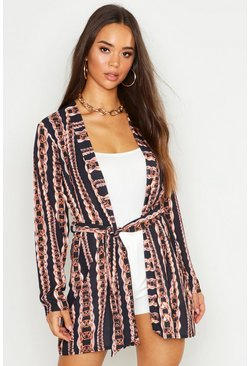 Womens Black Woven Chain Print Belted Kimono